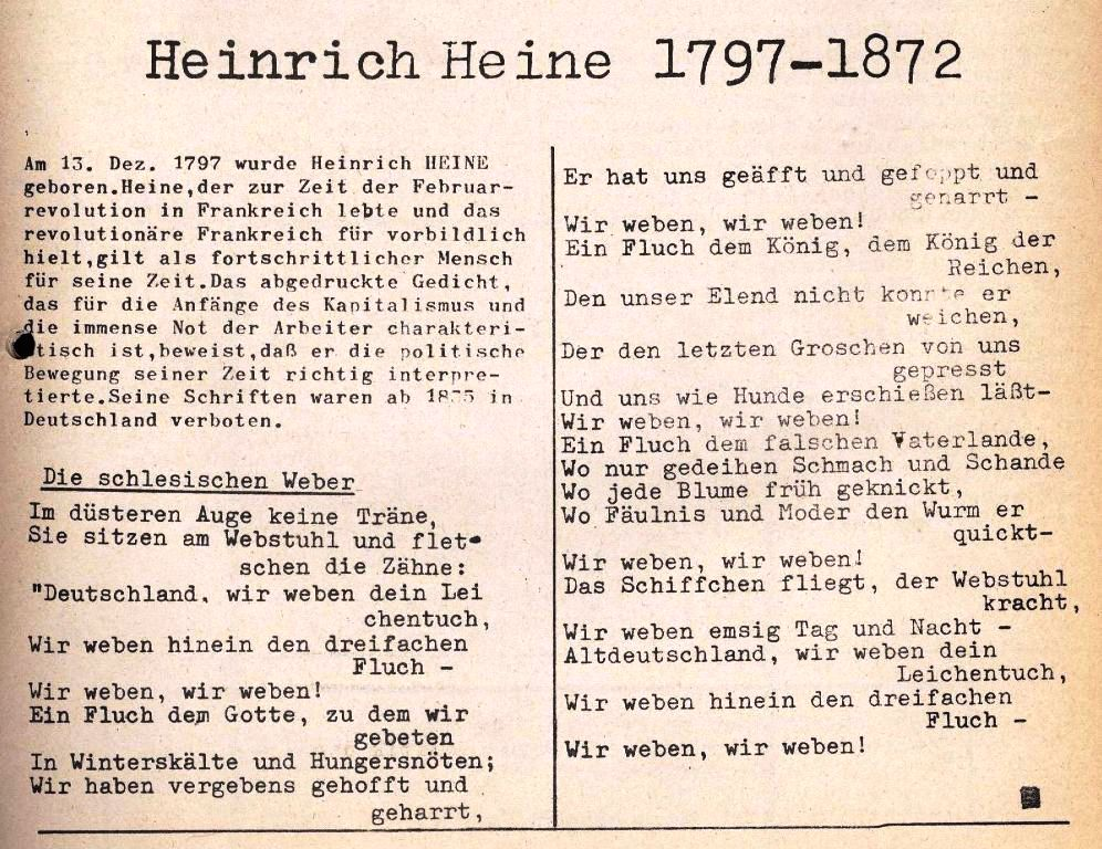 Heinrich Heine: Die schlesischen Weber