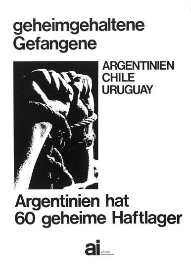 Plakat von ai: geheimgehaltene Gefangene _ Argentinien, Chile, Uruguay (ohne Datum)