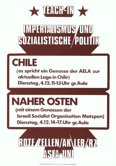 Plakat der Roten Zellen u. a.: Teac_in zu Chile und zum Nahen Osten