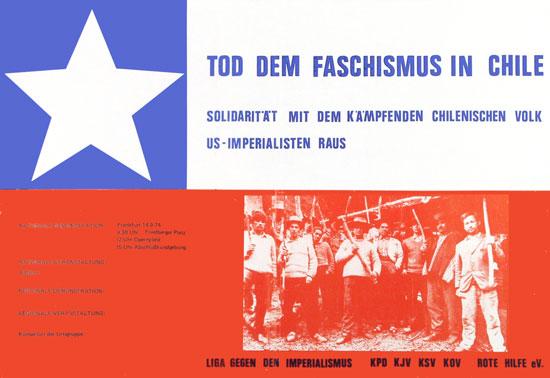 Plakat der Liga gegen den Imperialismus u. a.: Tod dem Faschismus in Chile (1974)