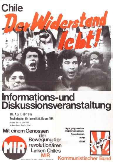 Plakat des KB u. a. zu einer Chile_Veranstaltung am 18.4.1975 in der TU Berlin