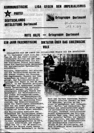 Flugblatt der Orstgruppen von KPD, Liga und RH zu Chile (Dortmund, April 1974