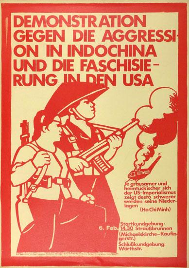 Demonstration gegen die Aggression in Indochina (Plakat 1971)
