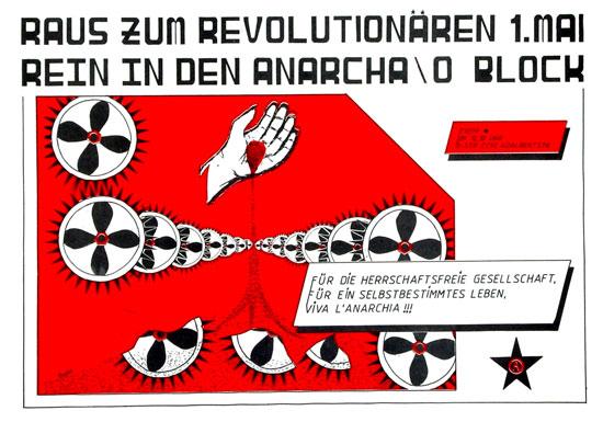 Plakat: Raus zum revolutionaeren 1. Mai. Rein in den Anarcha/o Block
