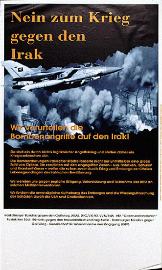 Plakat: Nein zum Krieg gegen den Irak (1999)