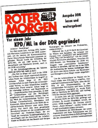 Die erste illegale Ausgabe des Roten Morgen für die DDR