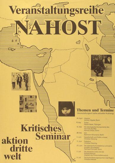 Plakat zu einer Veranstaltungsreihe Nahost